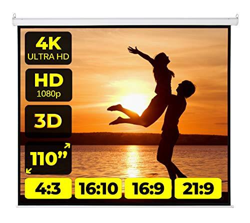Schermo Proiezione Motorizzato 203x203 (110 Pollici) 200 cm Multi Formato Per Proiettore Telo Bianco Ottico 197x197 100% Videoproiezione di Qualità Superiore Full HD 4K!