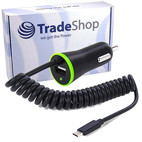 KFZ Auto Schnell-Ladekabel Ladegerät USB 3.1 Typ C 2,1A Anschluss mit zusätzlichem USB Port und 120cm Spiralkabel für Sony Xperia L2 XA1 Plus Ultra XA2 Plus Ultra XZ1 Compact XZ2 Compact Premium Ports Compact