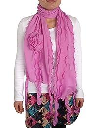 FASH Limited© Acrylique douce Premium Femmes Rose Sheer volantée Trendy Écharpe