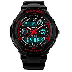 S SHOCK 2016 New Luxury Brand Men Military Sports Watches Digital LED Wristwatches rubber strap relogio masculine(Red)