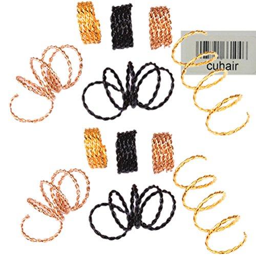 Cuhair 30 pièces (10/couleur) Punk vintage Pince à cheveux dreadlocks Perles Bobine poignets Tresse de cheveux spirale pour femme fille Accessoires Cheveux