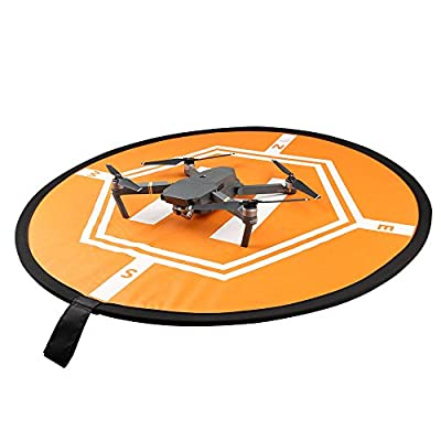 Hensych Helicopters Helipad Dronepad Launch Landing Pad for RC Quadcopters DJI Phantom 2 3 4 Inspire 1 Mavic Pro Air, Black and Orange, Opening Size110 x110 CM,with a Storage Bag