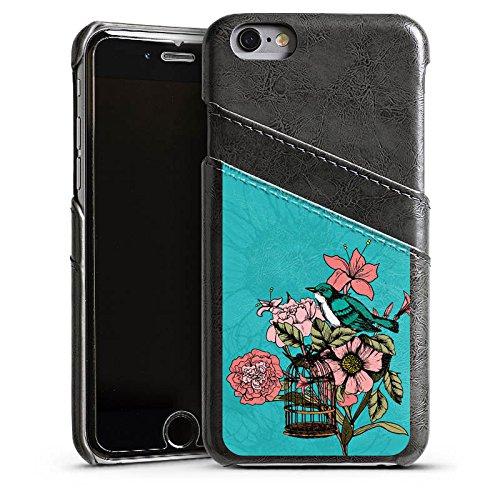 Apple iPhone 4 Housse Étui Silicone Coque Protection Oiseau Fleurs Fleurs Étui en cuir gris