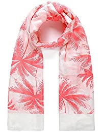Coral Tropical Palm Tree Print Wide White Scarf