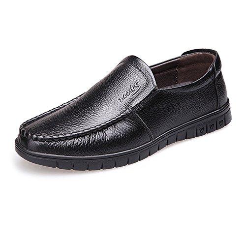 de7a37d8be56 SRY-Shoes Calzado clásico de Confort Calzado de Hombre Mocasines de Cuero  Genuino Slip-on Soft Sole (perforación Opcional) (Color   Negro