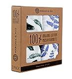 Blueberry Shop Couverture en mousseline bio–Margaux & peuvent–x Large Couvertures d'Emmaillotage–Bleu Vert fougère et plumes