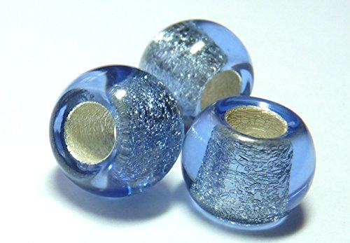12mm Tschechische Glas rund Perle europäischer Stil großes Loch–Silber gefüttert Capri Blau–D041(100)