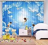 Waple Blauer Himmel und Weiße Wolken Engel 3D Vorhänge Küche Schlafzimmer Verdunkelungsvorhänge Fenster Wohnzimmer 260X260CM