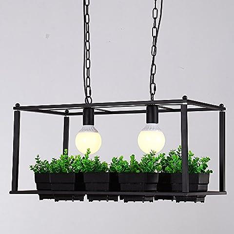 QWER Lampe de plafond suspendu peut créative moderne Cache-pot PLANTES Pots de fleurs carrés lustres Plateau Florts Balcon American Bar lustre en fer