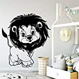 Adorable león vinilo pegatinas de pared decoración de la pared para la habitación de los niños decoración de la habitación del bebé tatuajes de pared etiqueta de la pared pegatina mu 58 cm x 63 cm