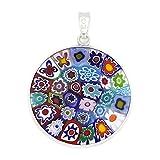 glassofvenice cristal de Murano Millefiori colgante 'multicolor' en marco plateado 1'