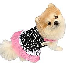 Para el vestido del animal doméstico,RETUROM Mascotas vestido de perro NUEVA manera del perrito de la princesa del perro alineada del punto de la falda (M)