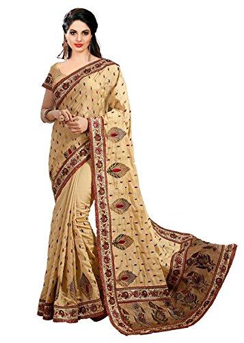 Panash Trends Women's Dupian Silk Saree (UJJ.K658-Beige Color)