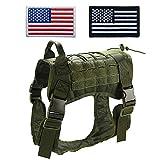 TopTie Tactical Service Hundegeschirr, K9 Hundegeschirr mit Griff, wasserabweisend und verstellbar (Zwei amerikanische Flaggen-Patch optional oder Nicht)