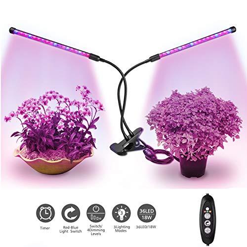 Relassy Pflanzenlampe, LED Pflanzenlampe 36 LEDs Vollspektrum Pflanzenlicht mit 3H/6H/12H Timing-Funktion und 4 dimmbaren Helligkeitsstufen für Zimmerpflanzen (M-18W)