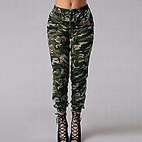 KKmoon Fashion Women Long Pants Camouflage Print Elastic Waist Casual Camo Trousers Green