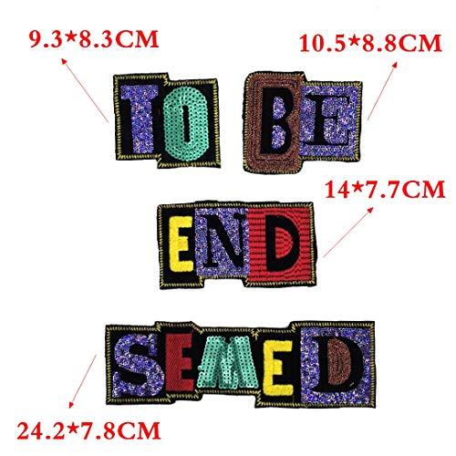 (OJVVOP Lila Englische Brief Pailletten Stickerei Tuch Bestickten Tuch Aufkleber Mantel Dekoration Aufkleber)