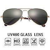 O-LET Damen Sonnenbrille grün grün Gr. Small, Gold Frame/Green Lens,Glaslinse Aviators-UV400 Schutz
