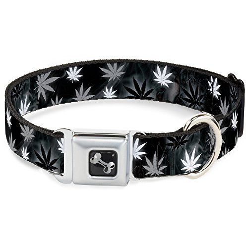 Buckle Down dc-w34271-l Sicherheitsgurt für Hunde, Blätter, Schwarz/Grau/Weiß -