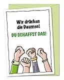 XL-Karte Daumen drücken - gemeinsam viel Glück und Erfolg wünschen, Karte Du schaffst das, wir denken an Dich - inklusive Umschlag (DIN A5)