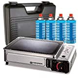 Plancha gaz portable 2300W Kemper plaque anti adhésive + 4 cartouches gaz camping +...