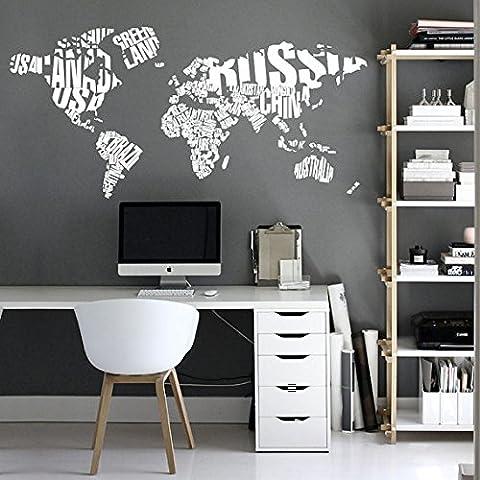 Vinilo Tipográfico de Pared Mapa Mundo con Nombre de Países - 240 x 120 cm