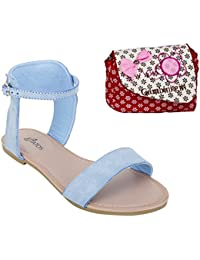 a2c539c6811218 Etashee Frosted Leather Open Toe Ankle Strap Buckle Closure Indigo Flat  Sandals with Red Printed Sling