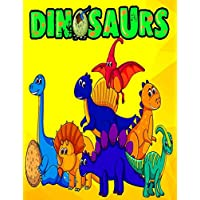 Dinosaur Coloring Activity Book: 60 Hand Drawn 8.5X11 Size Giant Full Page Jumbo Dino Colouring Drawing Collection for Kids Toddler Boys and Girls