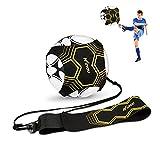 Football Kick Trainer Ayuda de entrenamiento de fútbol para niños y adultos Manos libres de práctica individual con cinturón Cuerda elástica Universal Se adapta a 3 4 5 balones de fútbol