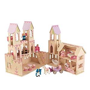 KidKraft 65259 Casa de muñecas de madera Palacio de Princesa para muñecas de 12cm con 17 accesorios incluidos y 3 niveles de juego