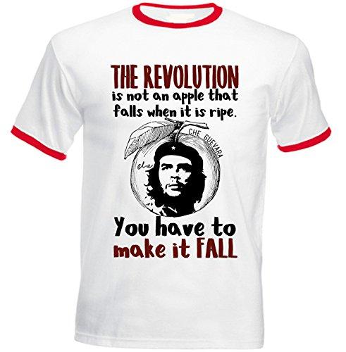 Revolution Ringer T-shirt (Teesquare1st Men's CHE GUEVARA REVOLUTION QUOTE Red Ringer T-shirt Size XXLarge)