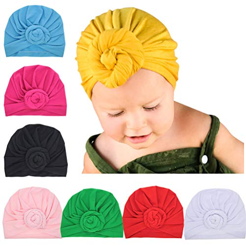 Rose Baby Hut (SKEPO 8 Stücke Baby Mütze Rose Blume Neugeborene Baumwolle Elastische Stretch Turban Kleinkind Stirnbänder Baby Mädchen Knoten Stirnband Krankenhaus Hut)