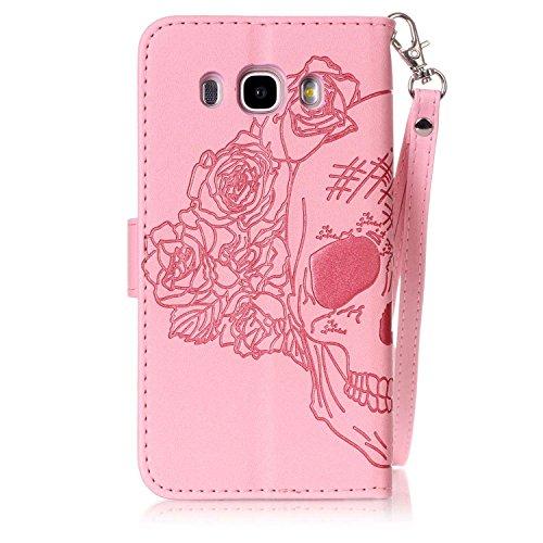 New Style gepresst Embossing Blumen Windchime Muster Retro Folio Flip Stehen Wallet Case mit Handschlaufe für Samsung Galaxy J510 ( Color : 14 , Size : Samsung Galaxy J510 ) 2