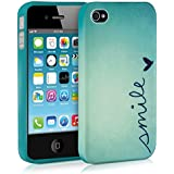kwmobile Hülle für Apple iPhone 4 / 4S - TPU Silikon Backcover Case Handy Schutzhülle - Cover Smile Design Blau Türkis