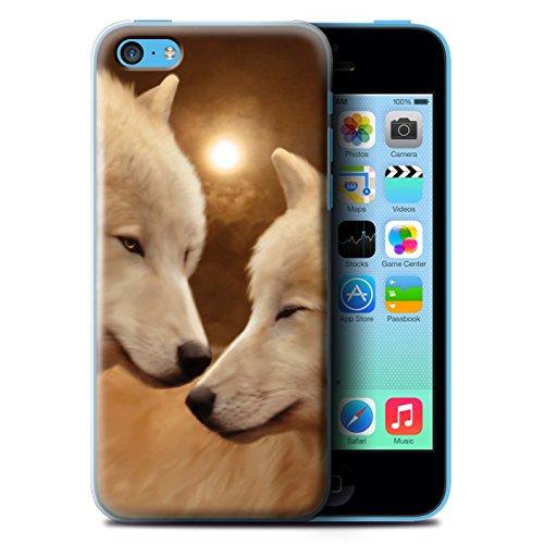 Officiel Elena Dudina Coque / Etui pour Apple iPhone 5C / Koalas/Escalade d'Arbres Design / Les Animaux Collection Loups Blancs