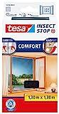 tesa Insect Stop COMFORT Fliegengitter Fenster - Insektenschutz mit Klettband selbstklebend - Fliegen Netz ohne Bohren - anthrazit (durchsichtig), 130 cm x 130 cm