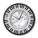 GZGJ Reloj de Pared con Piano Música temática Teclas de Piano Reloj de Pared con Marco de Metal Músico Pianista Maestro Signo Estudio de Pared Reloj de música