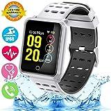 Smartwatch con Frecuencia Cardíaca, Reloj Inteligente con Bluetooth, Impermeable IP68 Reloj con presión Arterial Monitor de sueño Podómetro SMS Notificación de Llamada para iOS Android (Negro)