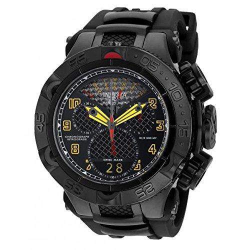 Invicta Men's Subaqua Black Polyurethane Band Steel Case Flame-Fusion Crystal Quartz Analog Watch 20220