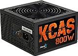 Aerocool KCAS800S - Fuente de alimentación gaming para PC (800W, ATX, 12V, PFC Activo, incluye ventilador 12 cm, 80 Plus Bronze, eficiencia + 85%, certificado Haswell Ready), color negro