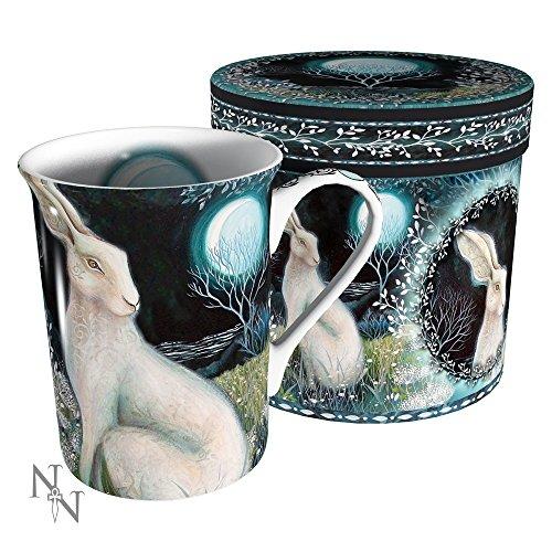 Mystic Keltisches weiß Moonlight Hase Keramik Tasse in Geschenk-Box mit Deckel-Amanda Clark Design -