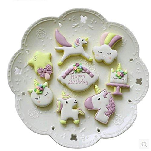 Lalang 8PCS Nettes Einhorn Keksausstecher Ausstecher Ausstechformen Kuchenform für Keks, DIY Plätzchen Backenwerkzeuge (001#)