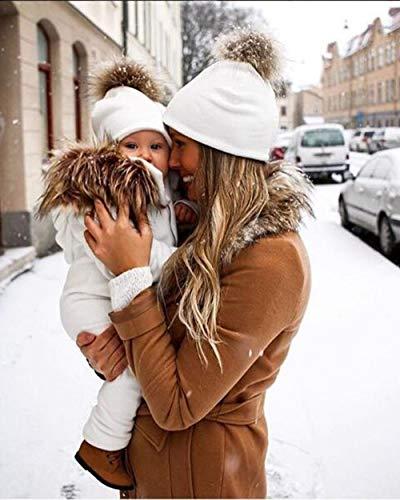 Simsly Winter Herbst Warme Bommelmütze für Mutter und Kinder, Kunstfell, weiche Kappe, Baumwolle, Zopfmuster, Ballmütze für Mutter und Kind, Weiß -