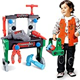 Anni Regalo Perfetto per Bambini 3 Tosbess 51 Pezzi Attrezzi da Lavoro Giocattolo Cassetta degli Attrezzi Portatile per Bambini con Trapano Elettrico