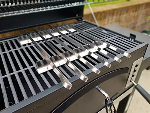 Set di 6 spiedi in acciaio INOX per barbecue, kebab, con custodia in nylon Lunghezza 45cm, larghezza 1cm, spessore 1,5mm. Per tutte le esigenze in fatto di barbecue.