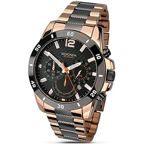 Sekonda 1006.27 Montre chronographe à Quartz pour Homme avec Bracelet en Acier Inoxydable plaqué Or Rose