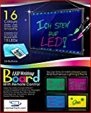 Wer Flashing Illuminated Erasable Neon LED Message Writing Board Menu Sign (7 Colors of RGB 28 flashing-mode Remote Control + Metal Chain For Hanging Up + Washable Eraser Cloth), [UK Import]