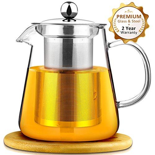 Théière en verre transparent de AckMond 950 ml avec infuseur et couvercle en acier inoxydable, pots de thé en verre de borosilicate, avec le caboteur en bois