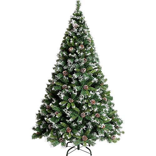 MIMI KING Schneeflocke Kiefer Kegel Weihnachtsbaum Aufgehängt Künstlich Mit Metallständer Umweltfreundlich Xmas Baum Grün Und Weiß Unbeleuchtet,6.9FT -