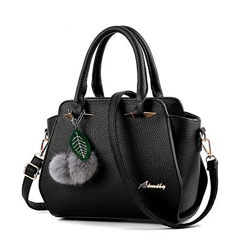 Donna Borse a Mano Messenger Bag Totes Borsa A Tracolla Gomma Rosa Nero